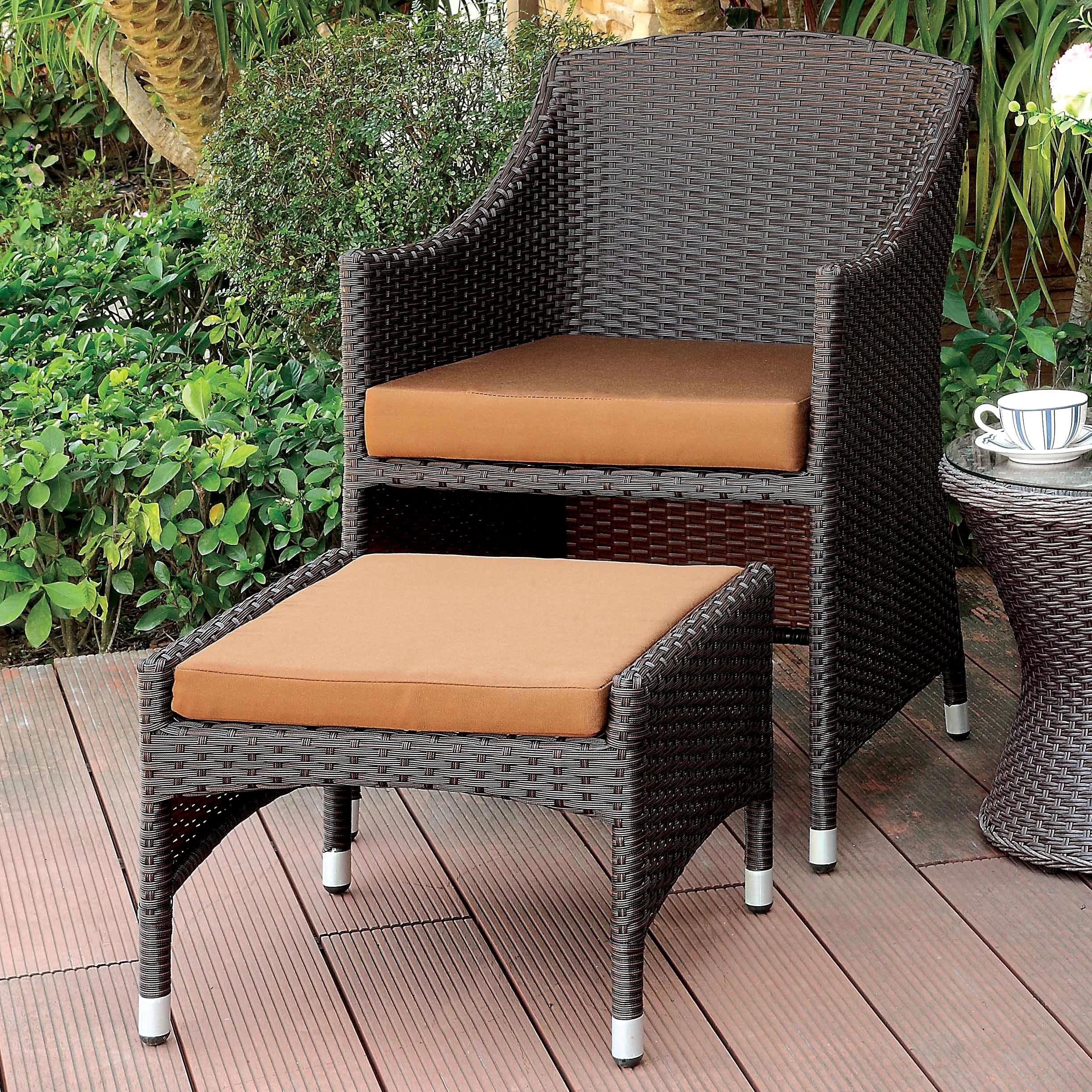 hagemann patio chair with cushions and ottoman