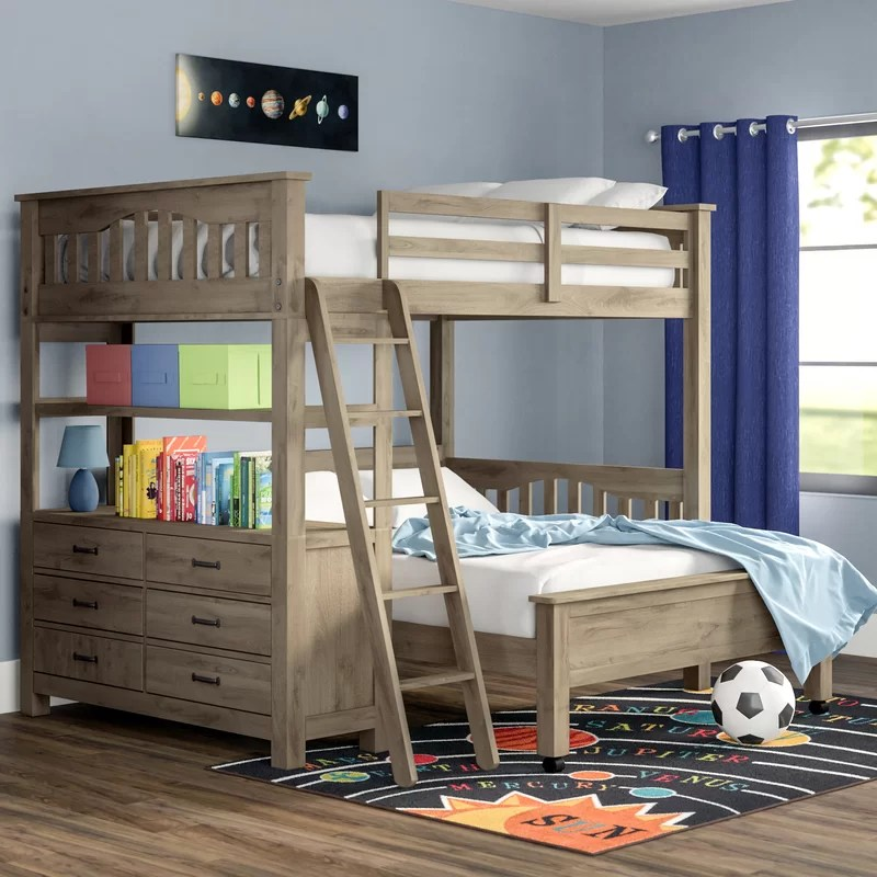 gisselle l shaped bunk beds with drawers and shelves