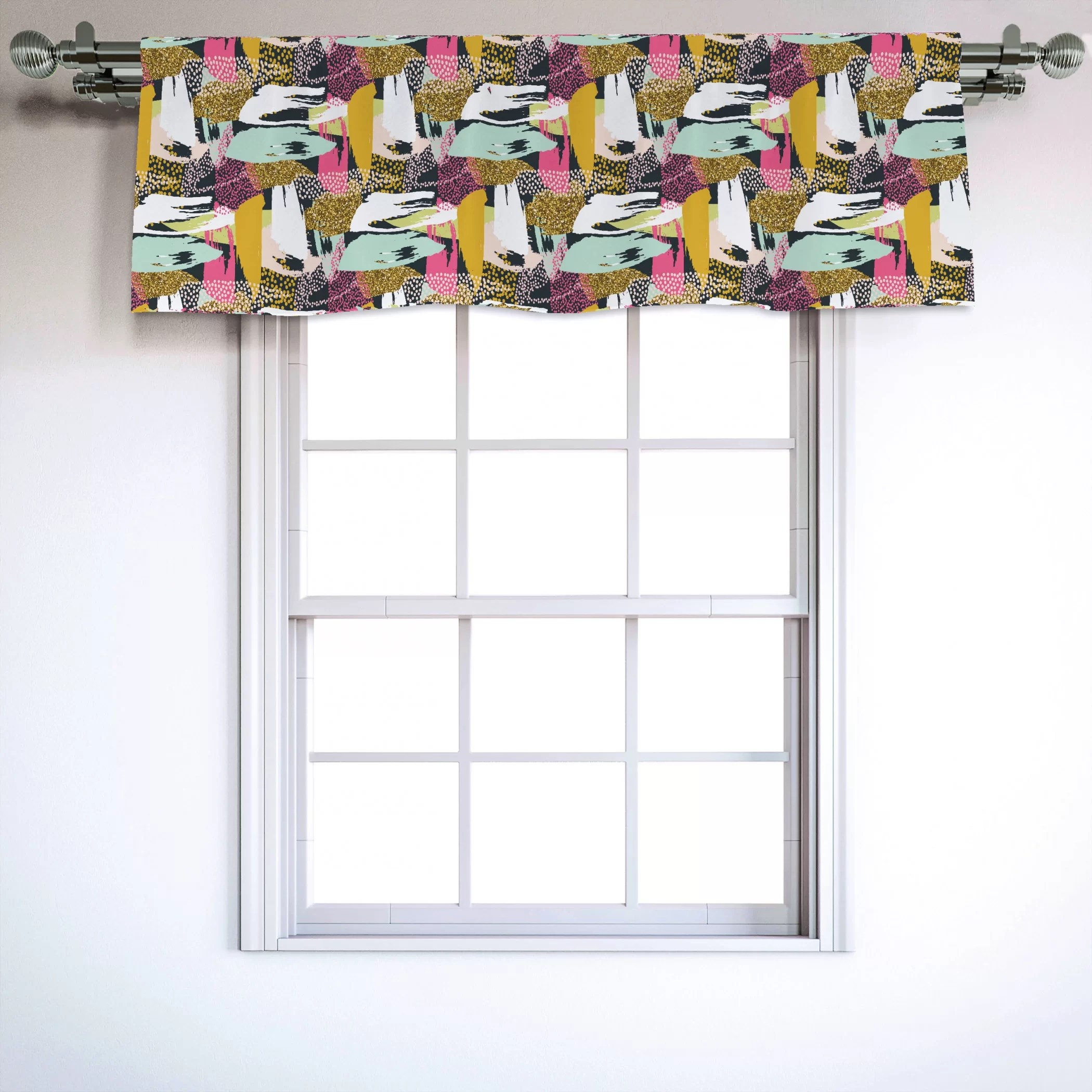 East Urban Home Ambesonne Abstract Window Valance Abstract Different Coloured Brushstroke Lines And Dots Contemporary Art Print Curtain Valance For Kitchen Bedroom Decor With Rod Pocket 54 X 18 Multicolor