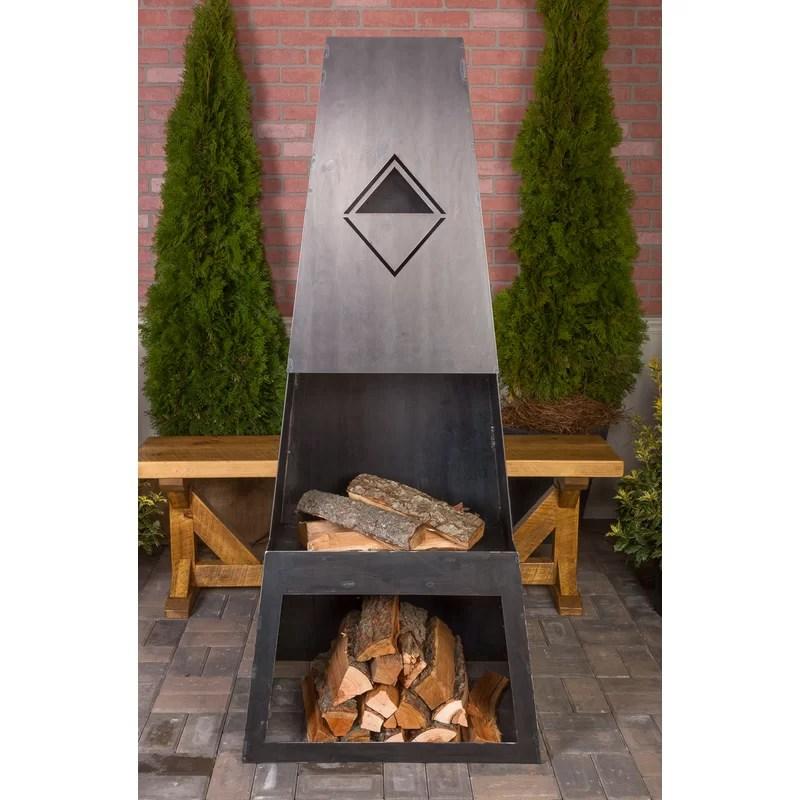 Wrought Studio Dillonvale Steel Wood Burning Outdoor ... on Quillen Steel Outdoor Fireplace  id=21487
