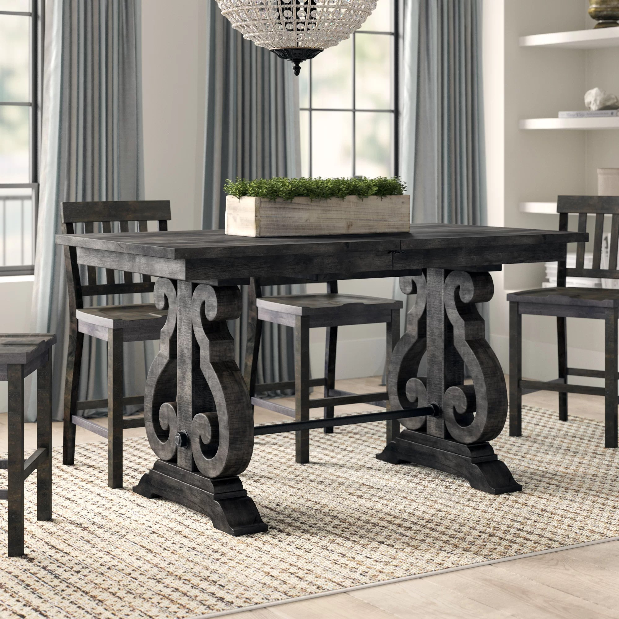 Greyleigh Ellenton Counter Height Extendable Pine Solid Wood Dining Table Reviews Wayfair