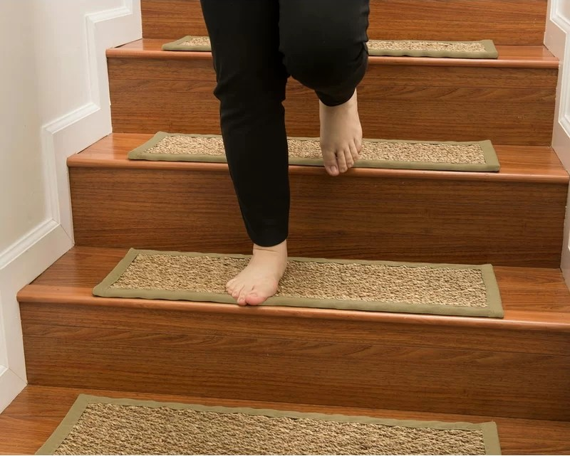 Rosecliff Heights Soperton Seagrass Carpet Stair Tread Reviews   Carpeted Stairs With Wood Floors   Charcoal Grey   Upstairs   White   Diy   Luxury