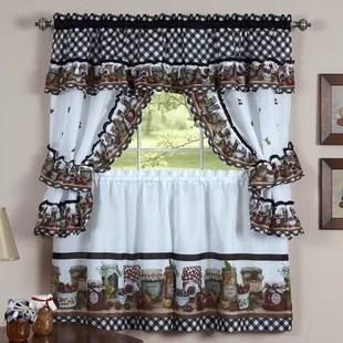 cadel traditional elegance mason jars cottage 5 piece kitchen curtain