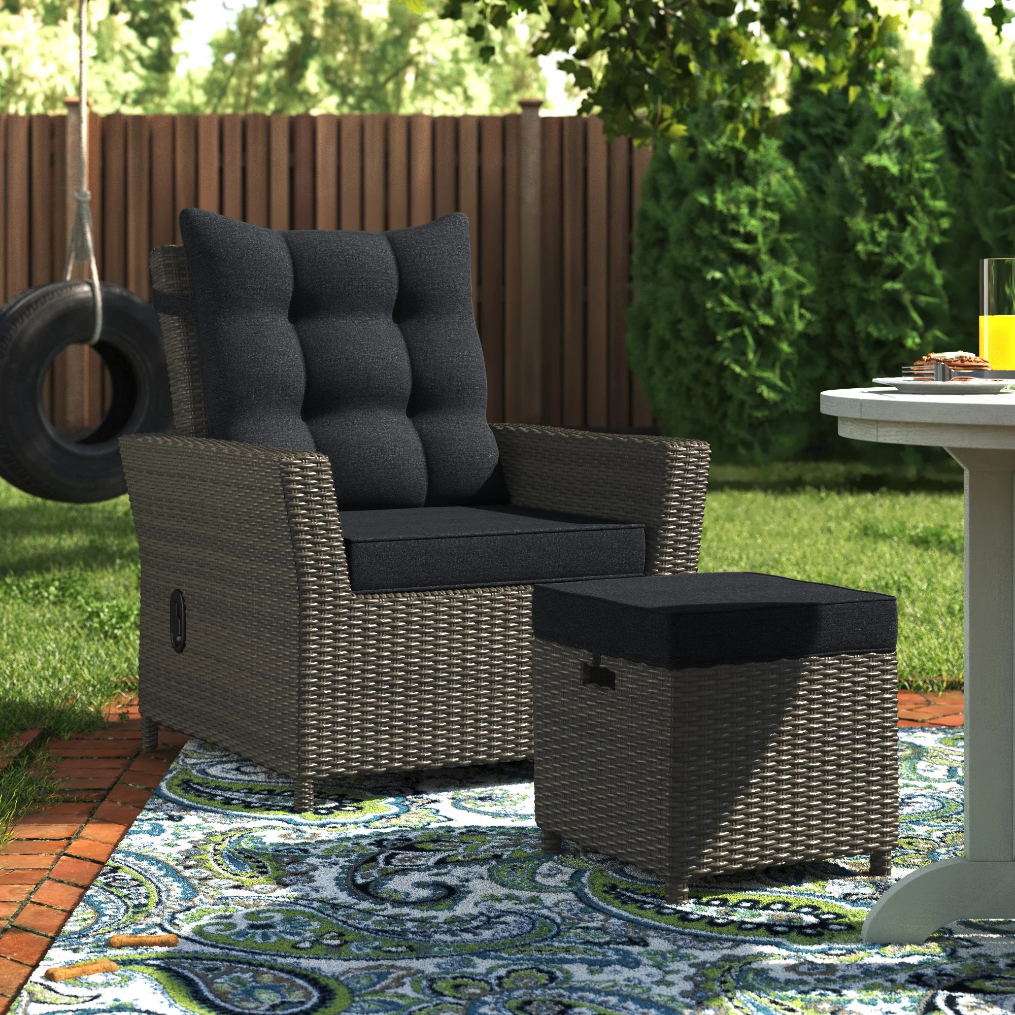 acree recliner patio chair with cushions and ottoman