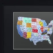 HD Decor Images » Usa License Plate Map On Wood   Wayfair Massive USA License Plate Map by Design Turnpike Framed Graphic Art