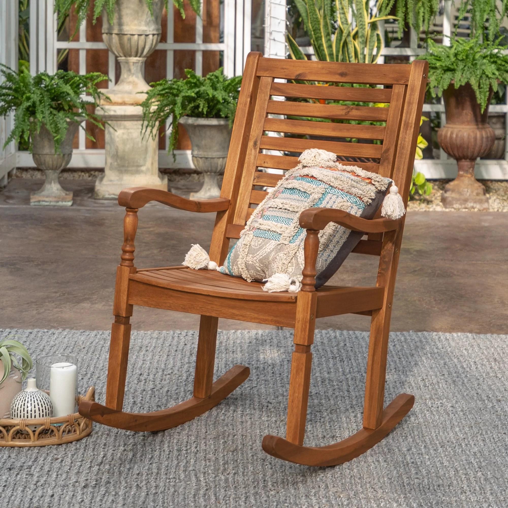 Jarrard Solid Acacia Wood Patio Rocking Chair Reviews