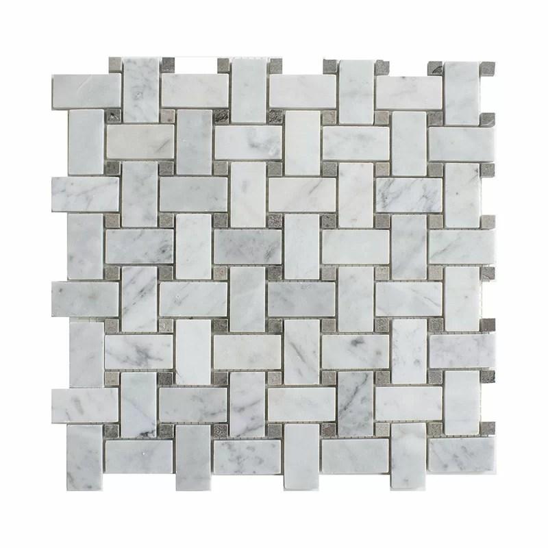 carrara basketweave 1 x 2 marble mosaic tile
