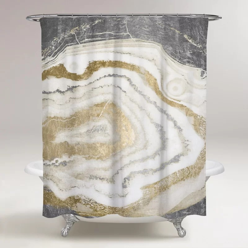 german abstract single shower curtain