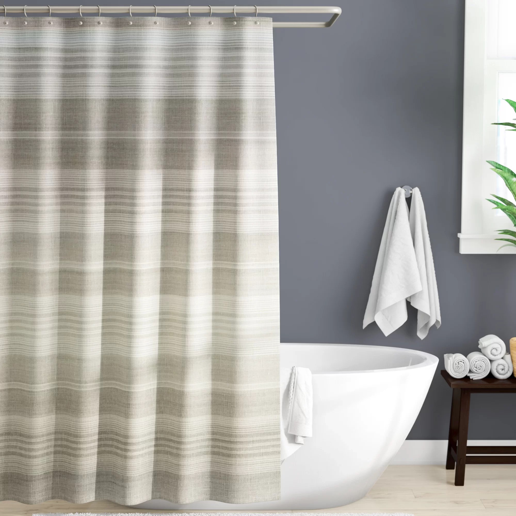 ira striped single shower curtain