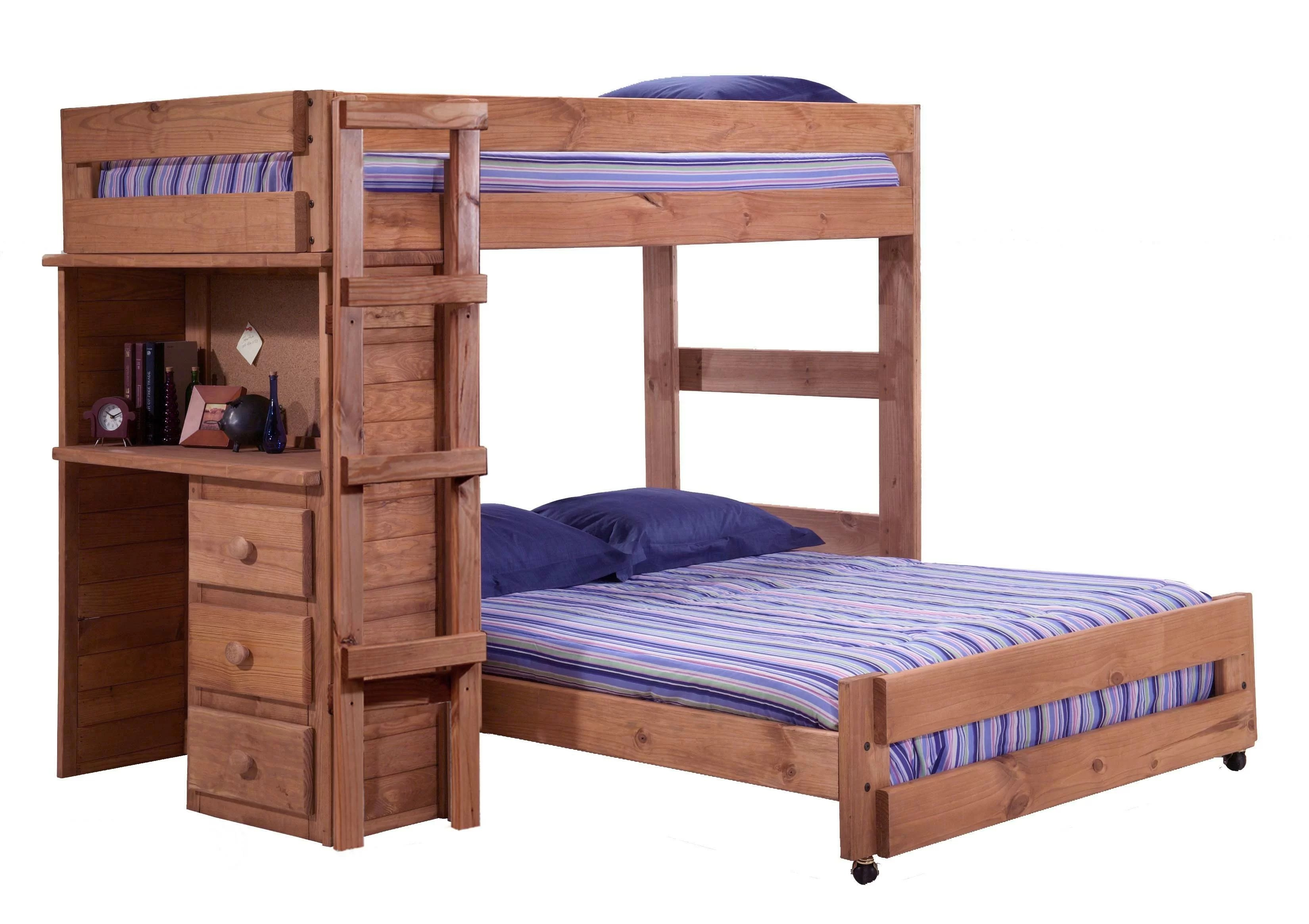 Harriet Bee Chumbley Twin Over Full L Shaped Bunk Bed With Desk