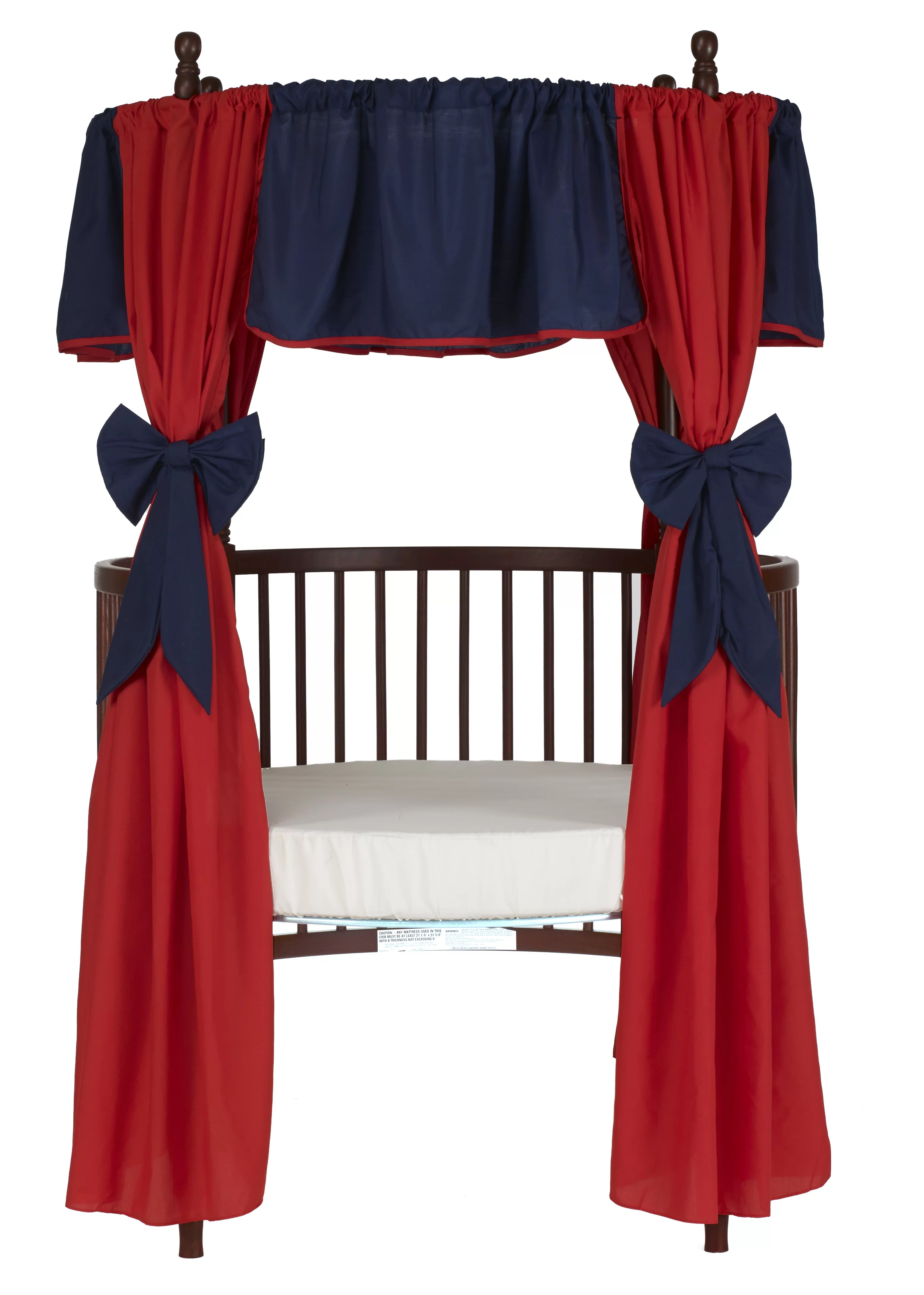 12 piece solid reversible round crib curtain and valance set