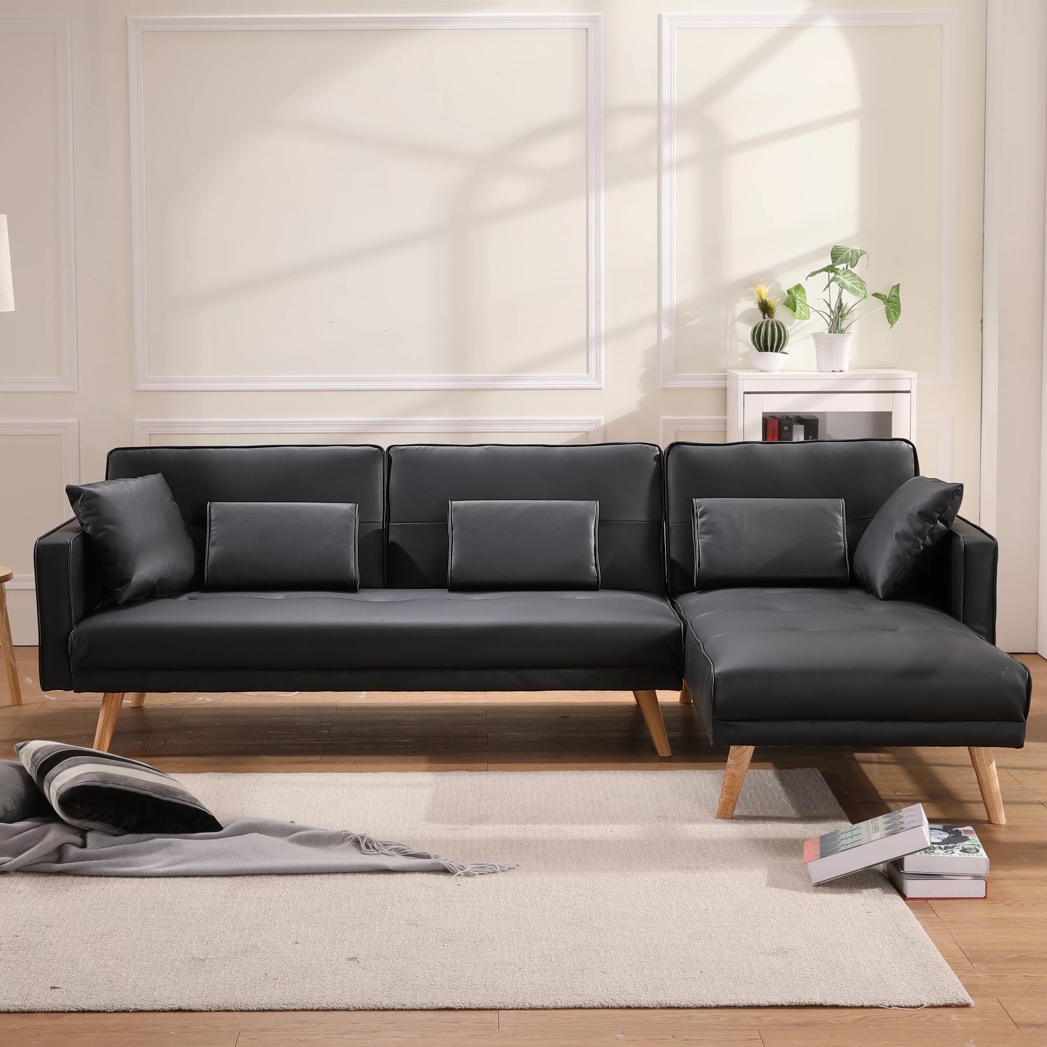 oliveira 92 1 wide faux leather right hand facing sleeper sofa chaise