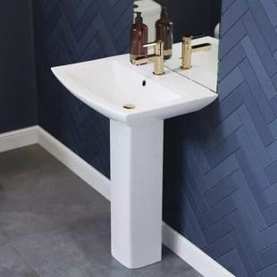 sublime 24 rectangular pedestal bathroom sink with overflow