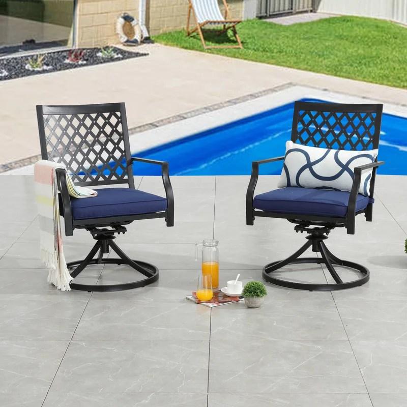 pawlowski swivel patio dining armchair with cushion