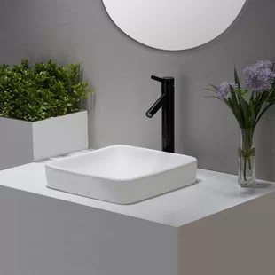 elavo square drop in bathroom sink with overflow