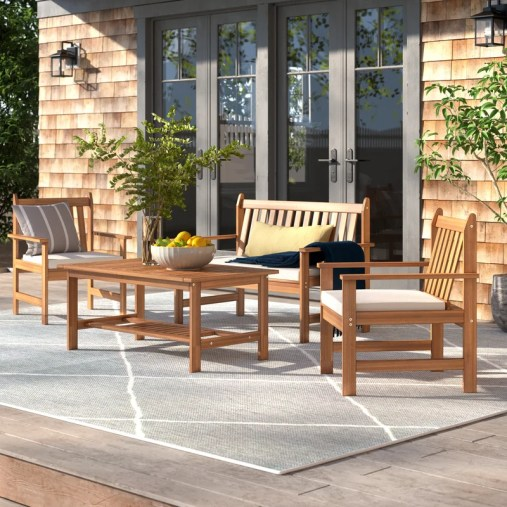 Joliet Solid Wood 4 - Person Seating Group with Cushions