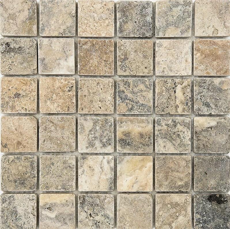 2 x 2 stone mosaic tile in antico tumbled