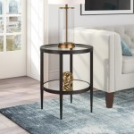 Mercury Row Barbara Glass Top End Table With Storage Reviews