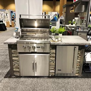 RTA+Outdoor+Living+72%2522+4 Piece+4 Burner+Natural+Gas+BBQ+Grill+Island