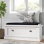 Beachcrest Home Rabin Wood Storage Bench Reviews Wayfair