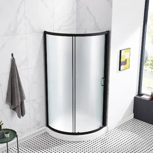 35 04 w x 76 97 h framed round sliding shower kit with base included