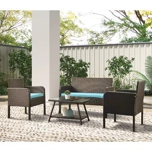 outdoor patio furniture four piece rattan chair wicker set indoor and outdoor use backyard porch garden poolside balcony furniture