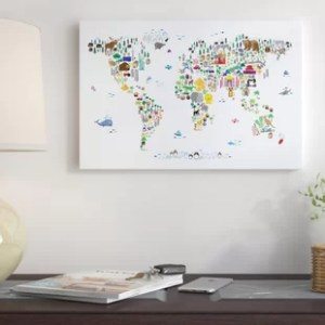World Map Wall Art  Animal Map of the World  Graphic Art Print