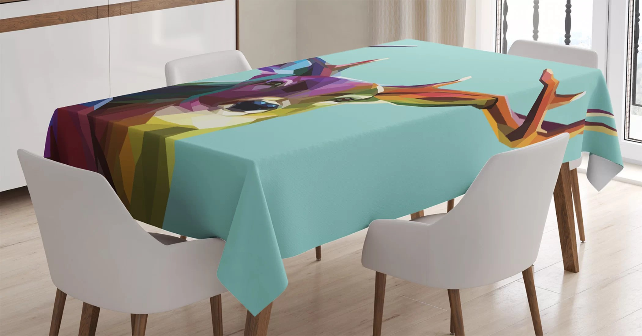 ambesonne deer tablecloth modern illustration of low poly deer with triangle psychedelic polygonal style retro rectangular table cover for dining