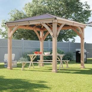 meridian 10 ft w x 10 ft d solid wood patio gazebo