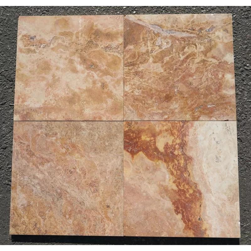 rojo polished 12x12 travertine field tile