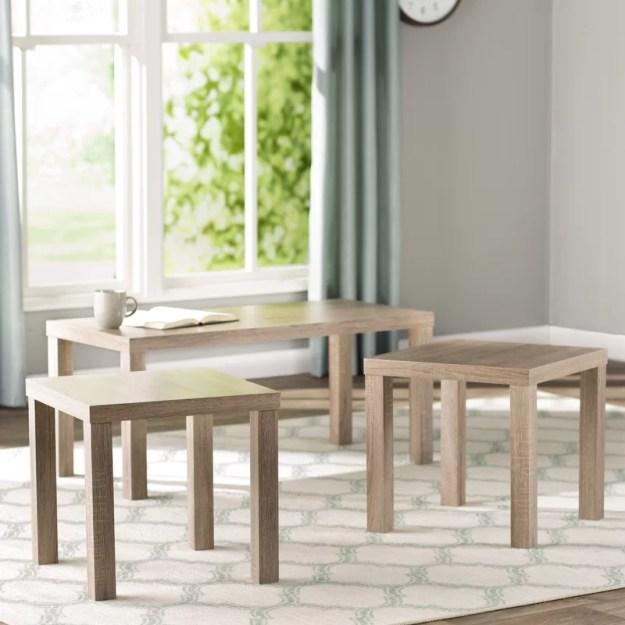 beachcrest home sunbury 3 piece coffee table set & reviews | wayfair