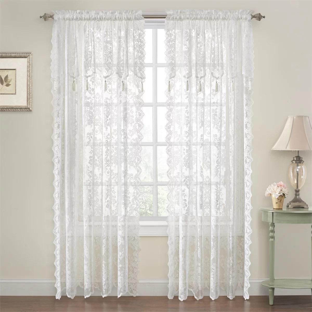Astoria Grand Roxann Elegance Lace Floral Semi Sheer Rod Pocket Curtain Panels Reviews