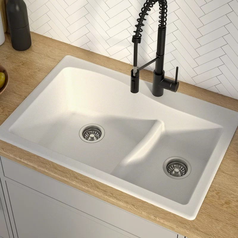 quarza 33 l x 22 w double basin drop in kitchen sink
