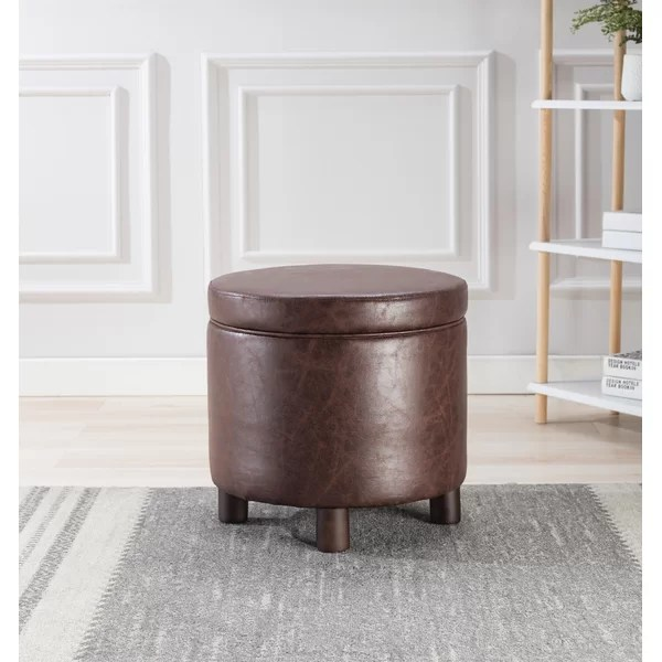 dubai 19 wide faux leather round storage ottoman