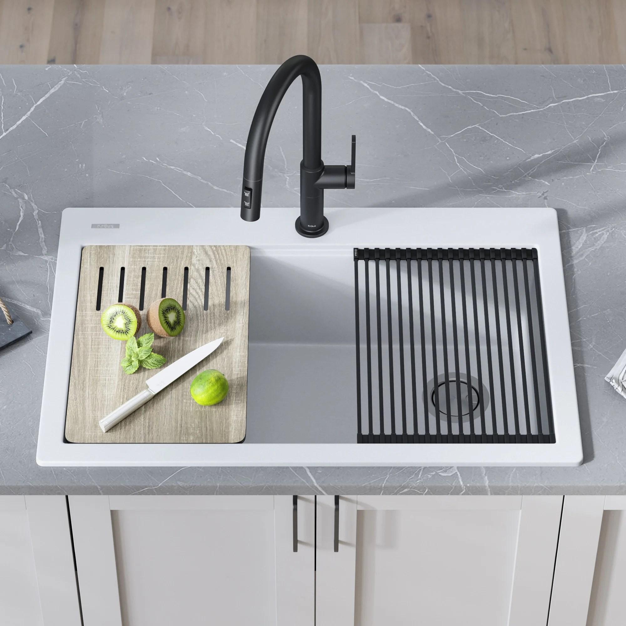 kraus bellucci workstation 33 inch granite composite single bowl drop in kitchen sink with accessories in metallic brown kgtw2 33mbr