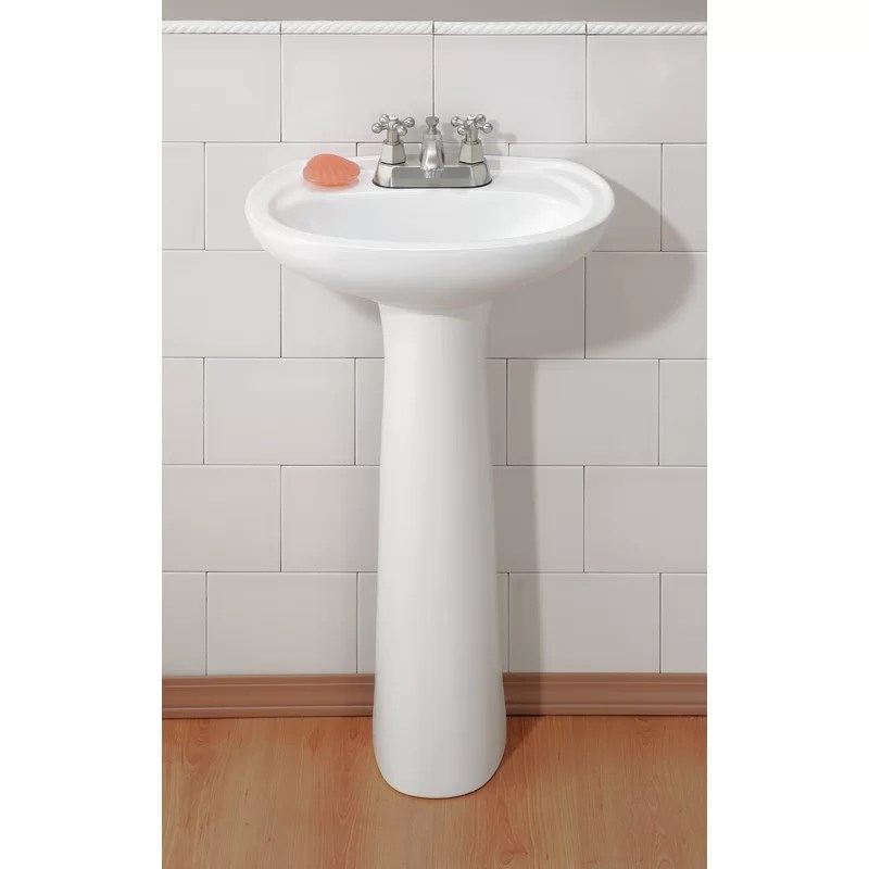 fiore vitreous china oval pedestal bathroom sink with overflow