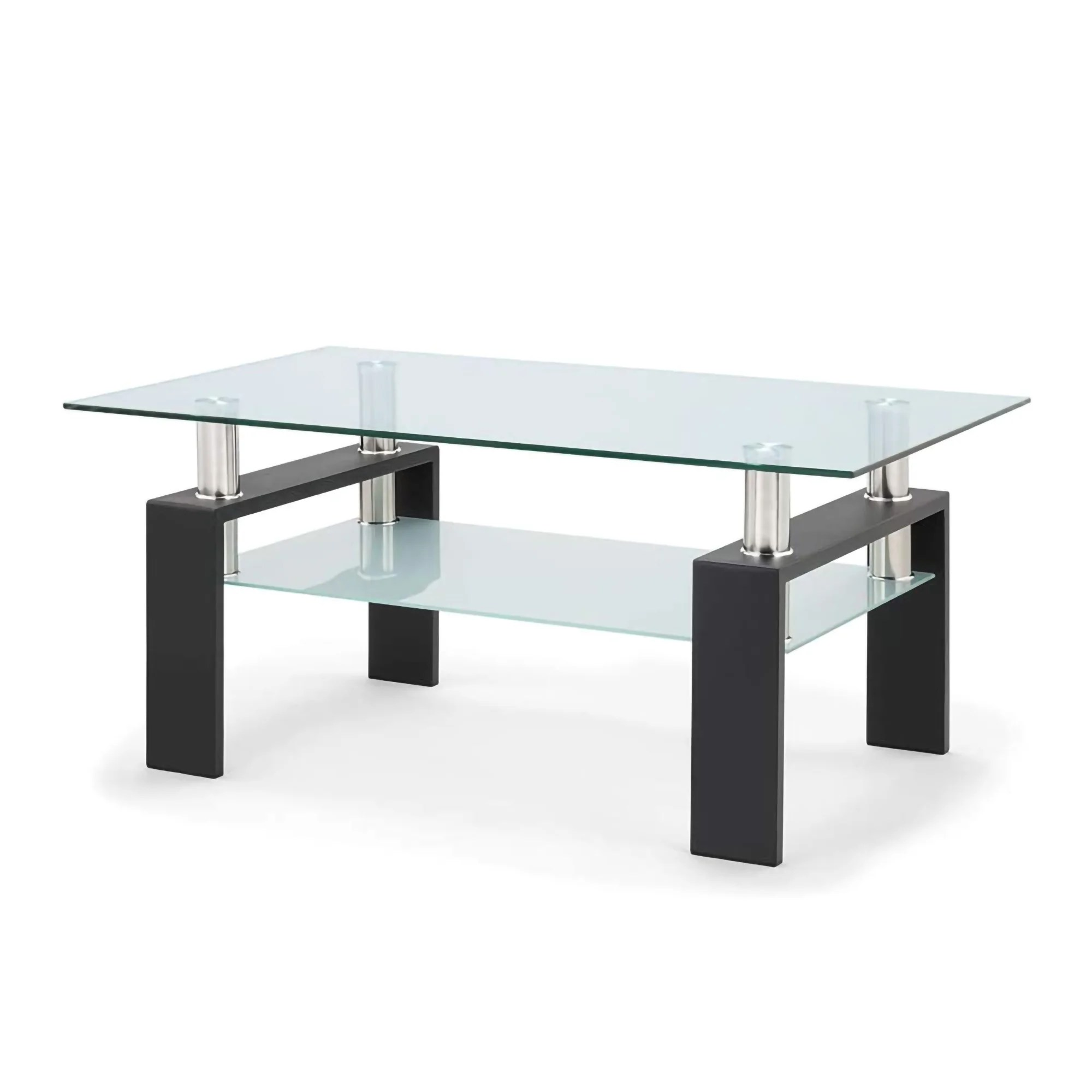 modern style 2 tier tempered glass coffee table with storage shelf and sturdy metal legs side table for living room office