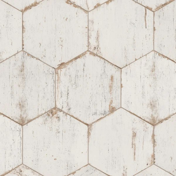 white distressed wood tile