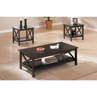 latitude run woodrow 3 piece coffee table set in brown & reviews