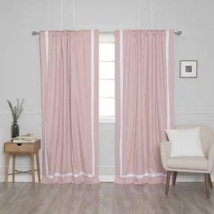 nico ribbon bordered cotton blackout thermal rod pocket curtain panel set of 2