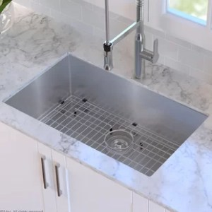 Modern Kitchen Sinks   AllModern 30  x 18  Undermount Kitchen Sink with Sink Grid and Drain Assembly