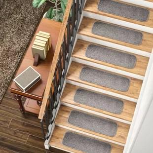 Stair Tread Rugs You Ll Love In 2020 Wayfair   Plush Carpet Stair Treads   Dog Cat Pet   Iron Frost   Carpet Runners   True Bullnose Carpet   Bullnose