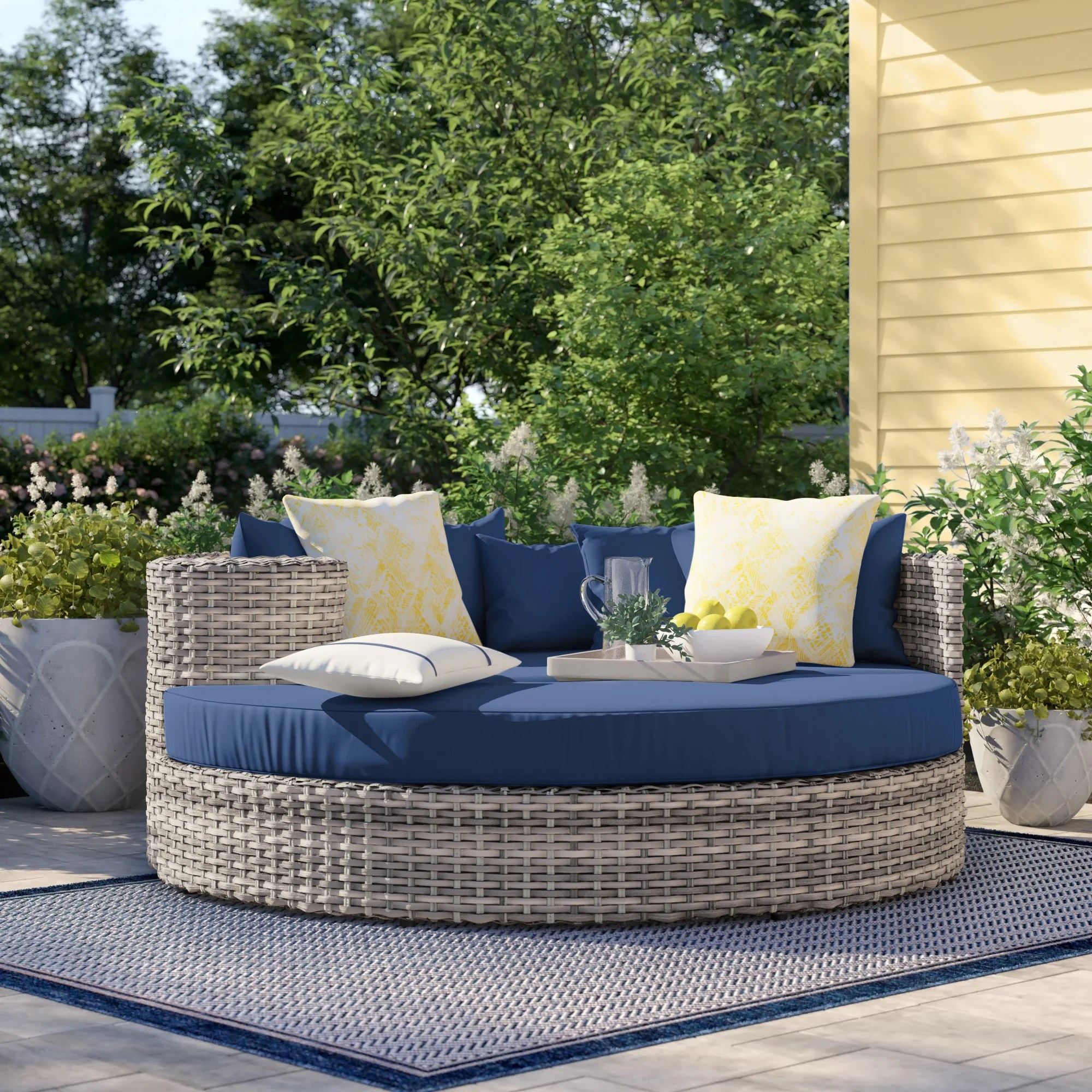 romford 70 wide outdoor wicker patio daybed with cushions