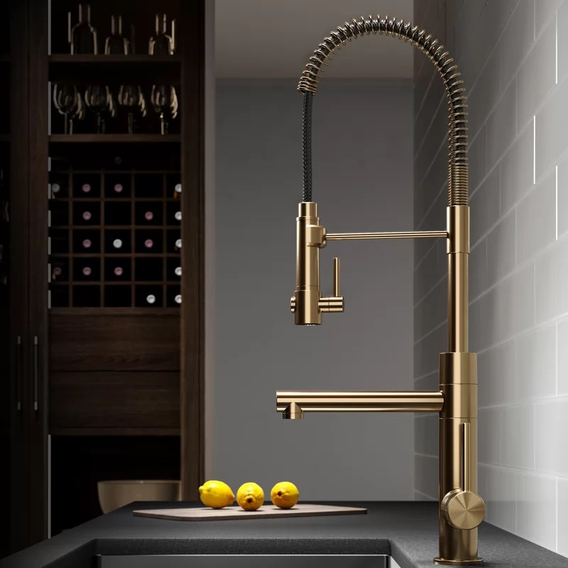 brushed gold kitchen sink faucet with