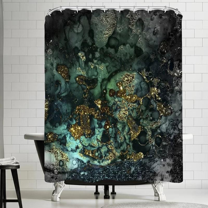 grab my art luxury dark malachite gold gem agate and marble texture single shower curtain