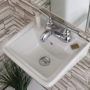 ceramic 12 wall mount bathroom sink with overflow