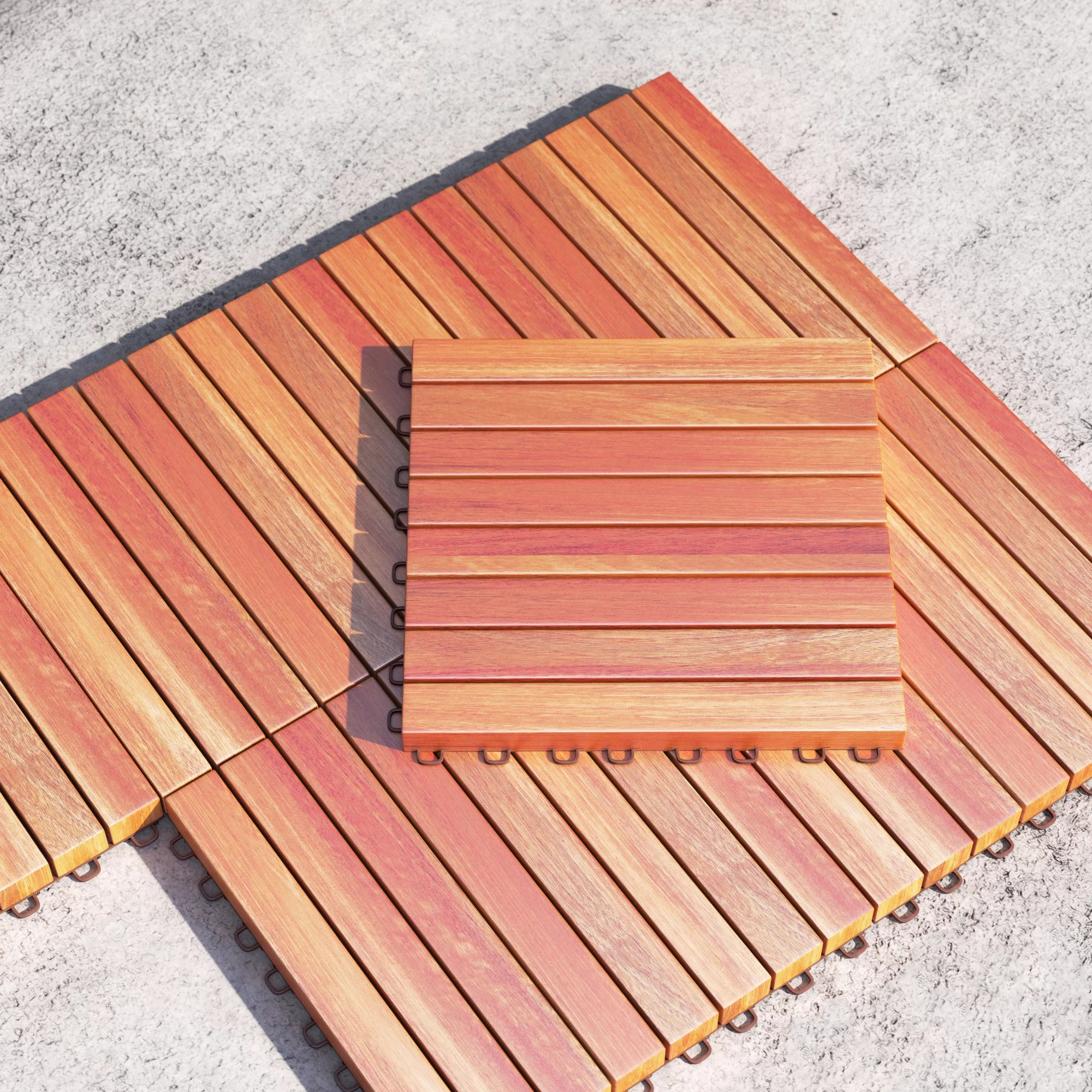 11 x 11 wood interlocking deck tile in tan