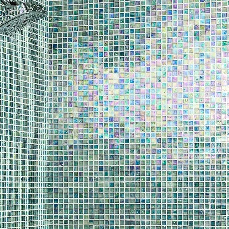breeze 0 62 x 0 62 glass mosaic tile in blue green
