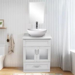 white 24 single bathroom vanity set with mirror