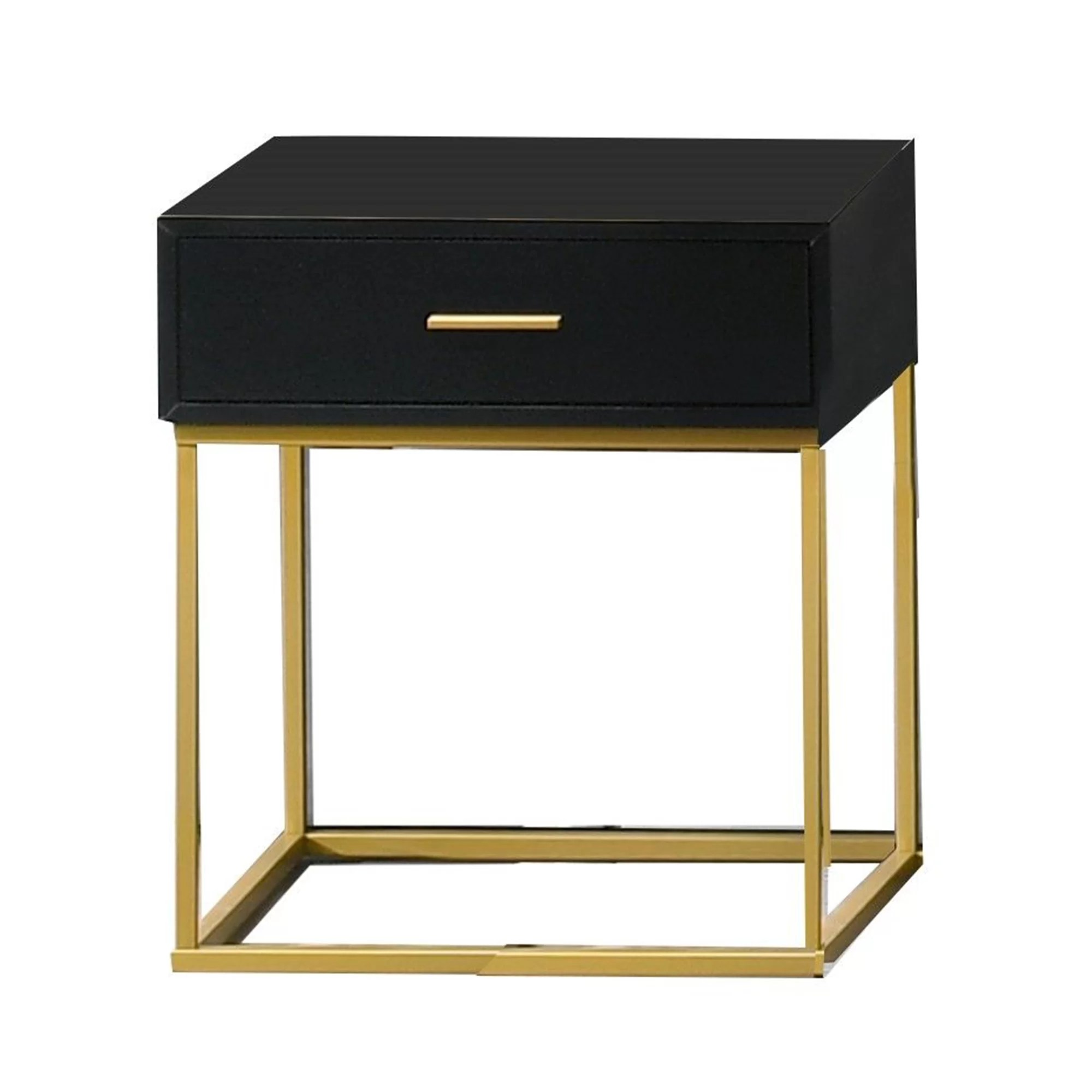 angelos 1 drawer nightstand in black gold